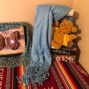 Vintage Pashmina Baby Blue Cashmere Scarf/Wrap